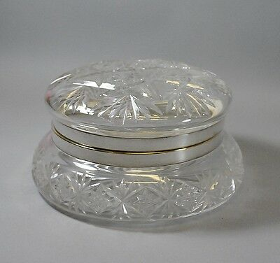 Vintage Large Round Cut Glass Dresser Box w Silverplate Band