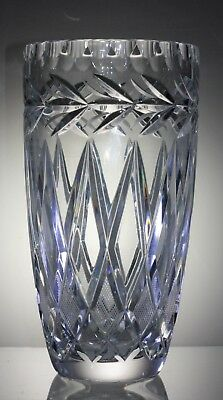 Stunning Vintage Lead Crystal Cut Glass Flower Vase - 21 cm