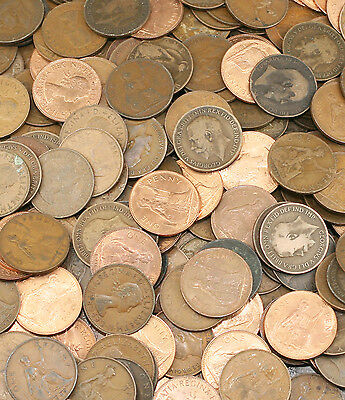 BULK & Unsorted English Old Penny Coins, Pennies from 1902-1967 - Choose Amount