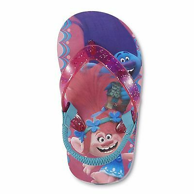 NEW Girls Toddler or Child Trolls Poppy Flip Flops Size 5/6 11/12 Small or Large