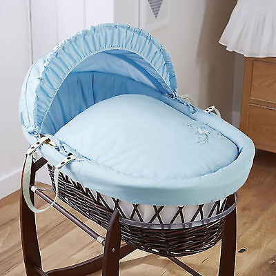 New 4Baby Blue Shooting Star Dark Wicker Baby Boys Moses Basket & Mattress