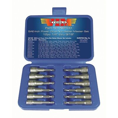 12 Piece SAE Power Drive Nut Setter Set with Magnetic and Hollow Point Drivers