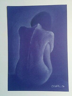 Original A4 Nude Pastel Life Drawing Art Study