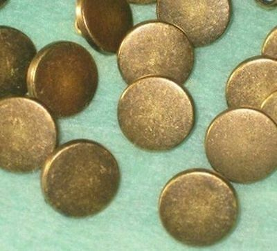 """Set 16 New Vintage Antiqued BRASS Metal small Buttons with shank 1/2"""""""