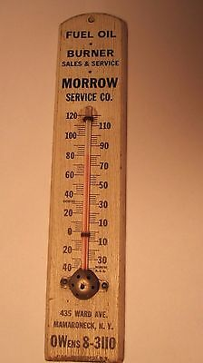 Vintage Wood Advertising Thermometer Fuel Oil Burner Mamaroneck, Ny