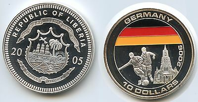 G2099 - Liberia 10 Dollars 2005 Fussball WM 2006 Deutschland Multicolor Color