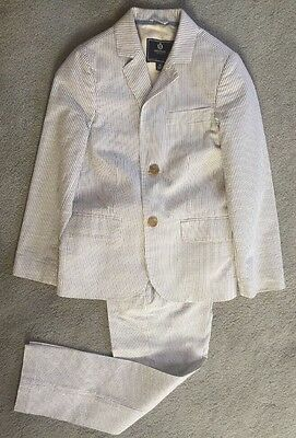 J. Crew Crewcuts Boys' 2 Piece Blue-White Seersucker Suit  Size 7-8 EUC