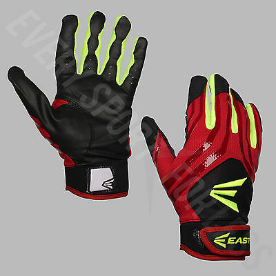 Easton HF3 Women's Hyperskin Fastpitch Batting Gloves - Red/Yellow/Black (NEW)