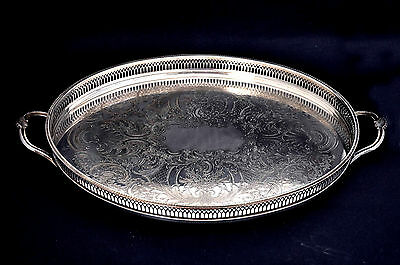 Vintage Large Chased Silver Plate Twin Handle Galleried Serving Tray by Cavalier