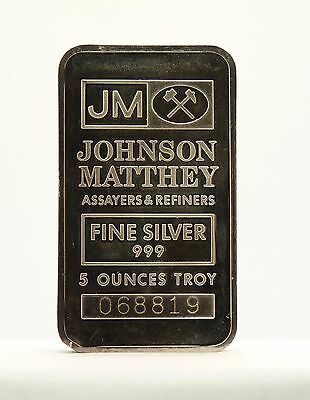 Johnson Matthey Assayers & Refiners 5 Troy Ounces .999 Fine Silver Bar