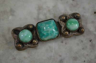 VINTAGE French 1920s green Peking glass belt buckle