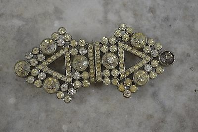 VINTAGE 1930s ART DECO clear paste diamante glass belt buckle
