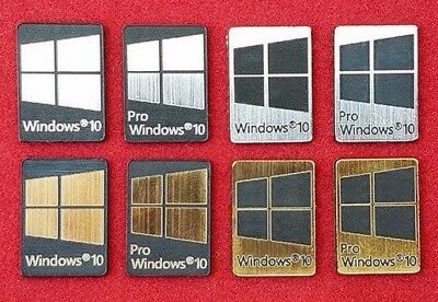 Windows 10 & Pro Metal Silver/Gold/Black Case Badge Sticker Laptop - 8 Colors