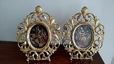 PAIR OF 19th Century Antique CAST IRON GILDED FRAMES WITH PRESSED FLOWER ART