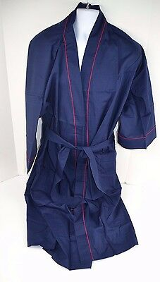 Vtg 70's Men's HARCOURT Mid-Calf Length Quality Robe NAVY BLUE One-Size
