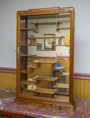 """Vintage Chinese Curio Display Cabinet- Cherry/Rosewood """" Beautiful"""""""
