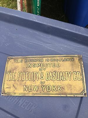 "1930's 8"" Elevator Inspected By The Fidelity & Casualty Co Brass Plaque  NYC"