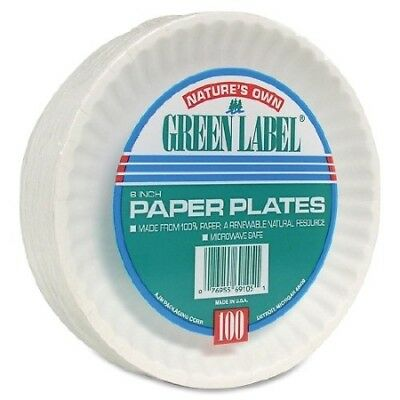 Nature's Own Paper Plate, White, Disposable, 6 Inch Diameter, Pack of 100