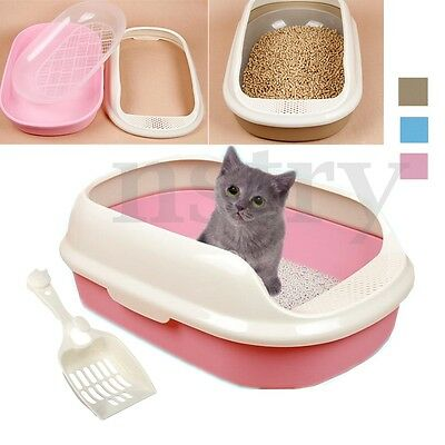 Large Plastic Cat Kitten Pet Litter Box Sifting Training Tray Toilet Pan Scoop