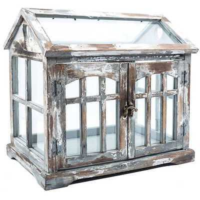 Gray Brown White Wood Terrarium w/ 2 Doors House Shaped Design Clear Glass New