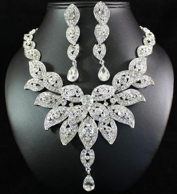 Floral Austrian Rhinestone Crystal Bib Necklace Earrings Set Wedding Prom N21