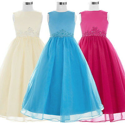 Flower Girl' Princess Dress Communion Party Prom Pageant Kids Bridesmaid Wedding