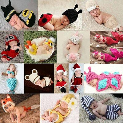 Newborn Baby Girl Boy Photo Crochet Photography Prop Costume Outfit Knit Clothes