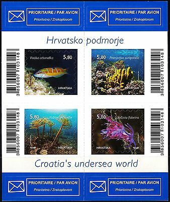 Croatian 2014 Undersea World Fish Plants Block of 4 Stamps Self Adhesive, MNH
