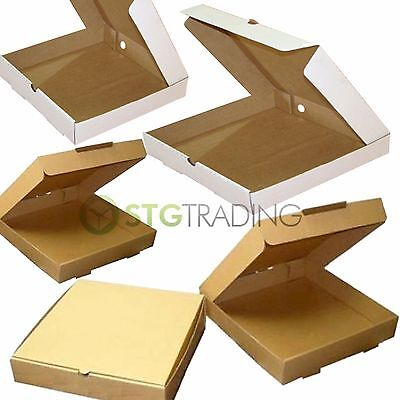Plain Pizza Takeaway Boxes Brown & White Strong Quality Postal Boxes 7 - 16 Inch