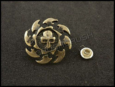 10Sets Antique Brass Round Skull with Rowel RIVETS Leather Decoration RV8219