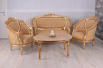 Salon Style Louis Xvi Canape + 2 Fauteuils + 1 Table Basse En Bois Hetre Dore