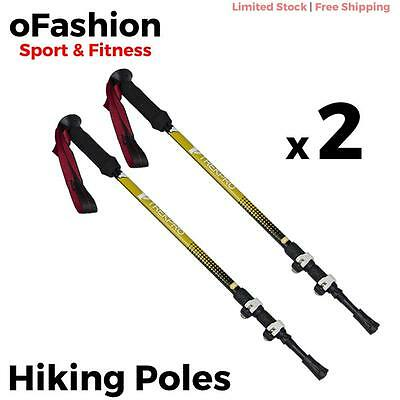 Trekking Hiking Poles Walking Stick Adjustable Telescopic Lightweight Aluminium
