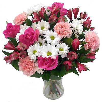 Clare Florist Precious Pink and White Bouquet, Gorgeous Fresh Pink Roses and Car