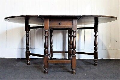 Antique Vintage solid wood drop leaf gateleg folding kitchen / dining table