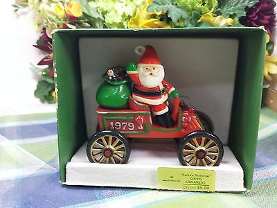 Hallmark Here comes santa 1979 Motor car ornament in box