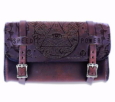 Lucky 13 Leather bag Tool Pouch Motorcycle Chopper Bobber Tattoo All Seeing