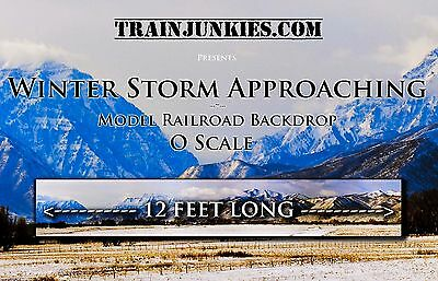 "TrainJunkies O Scale ""Winter Storm Approaching"" Backdrop 144x24"" C-10 Brand New"