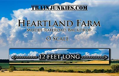 "TrainJunkies O Scale Heartland Farms Backdrop 24x144"" C-10 Mint-Brand New"