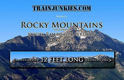 "TrainJunkies O Scale ""Rocky Mountains"" (No Clouds) Model Raiload Backdrop"