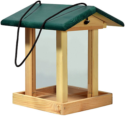 Dobar FSC Wooden Feeder Bird Feeding Station For Wild Birds, Green