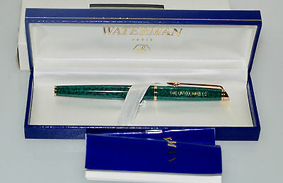 WATERMAN HEMISPHERE GREEN MARBLE  & GOLD ROLLERBALL PEN Untouchables NEW In Box!