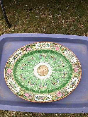 "Late 19th Century 14 3/4"" Chinese Export Porcelain Cabbage Platter"