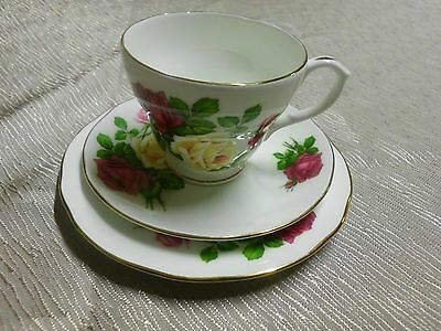 Vintage Duchess Trio Set Country Roses Crimson Yellow Pink Gold Edging