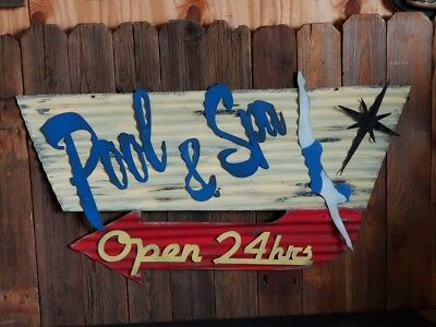Pool and Spa Mid-Century Retro Painted Flat Metal Sign FREE SHIPPING