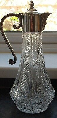 Cut glass claret jug. Silver plated lid  handle Roman God BACCHUS  head