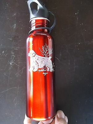 Clumber Spaniel- Hand engraved Stainless Water Bottle by Ingrid Jonsson