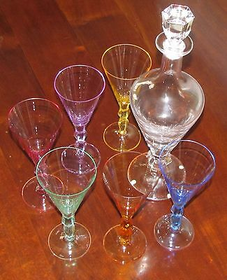 MOSER LEAD-FREE CRYSTAL DECANTER + 6 MULTICOLOUR Wine Glasses=OPHELIA=Czech Rep.