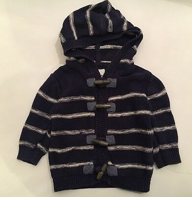 Next Baby Boys Stripe Hoodied Cardigan Fisherman Jacket,Navy & White,6-9 M,GC