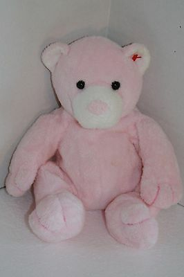 """TY Pluffies PUDDER 10"""" Pink Baby BEAR White Plush 2003 Soft Toy Plastic Eyes New"""