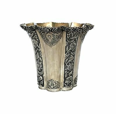 Persian Antique Silver Vase from Isfahan Handmade Hand Engraved Etched Qajar Era